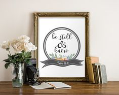 Be still and know print, Psalm 46:10, Bible verse print, Scripture art, Printable bible verse, Wall art decor, Inspirational quote BD-985