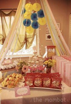 Vintage circus birthday party. Gorgeous homemade party decorations, fantastic ideas for circus-themed party foods for kids, and THE most adorable little photo booth setup with the gorgeous little birthday girl hamming it up for the camera! See more party and wedding decor at http://pinterest.com/wineinajug/party-wedding-decor/