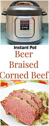 Instant Pot Beer Braised Corned Beef is flavored with Guinness. And it only took less than two hours in the instant pot. Great for any occasion, and definitely keep it in mind for St. Patrick's Day! | What's Cookin, Chicago?