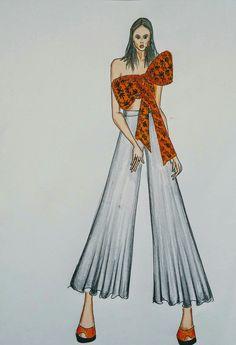 Big orange brocade bow top with Palazzo pants Costume Design Sketch, Dress Design Drawing, Dress Design Sketches, Dress Drawing, Fashion Design Drawings, Fashion Drawing Dresses, Fashion Illustration Dresses, Fashion Model Sketch, Fashion Sketches