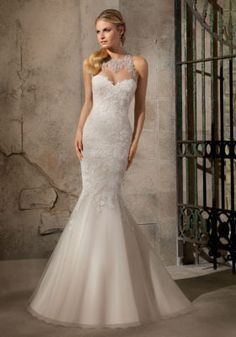 2723 Artistic Embroidered Appliques on Net with Crystal Beading Mori Lee Bridal Wedding Dress   Morilee