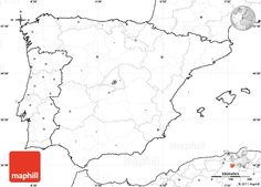 Blank Simple Map of Spain, no labels