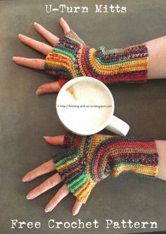 Knitting and so on: Crochet U-Turn Mitts. Free pattern, unusual construction, 4ply variegated yarn, 3mm hook.