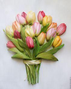 Купить Картина вышитая лентами 17 тюльпанов 40 х 30 см - Вышивка лентами