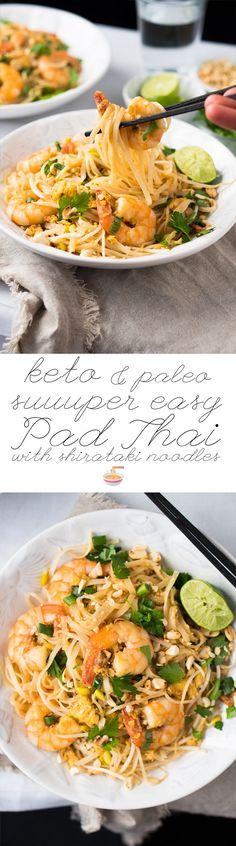 Paleo & Keto Pad Thai with shirataki noodles suuuper easy & quick! #ketopadthai #shirataki