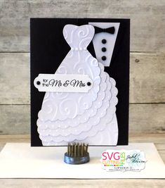My husband asked me to make a wedding card for his friend that is getting married this weekend.  Using SVG Cutting Files card base and addin...