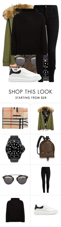 """""""Untitled #2386"""" by triskid ❤ liked on Polyvore featuring Burberry, Mr & Mrs Italy, Rolex, Louis Vuitton, Christian Dior, Jaeger and Alexander McQueen"""
