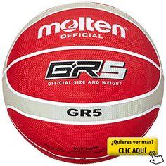 Molten - Balón de baloncesto (talla 5), color rojo, blanco y plata #balon #basket