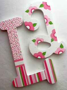"""BLOOMING COLORS 6"""" Personalized Custom Painted Decorative Wooden Wall Letters"""