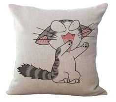 Meet Snowball. He spends a lot of time looking for ways to a cuddle... hanging out by the couch? Snowball will be in your lap quick as a flash. Cat throw pillows for cat lovers :-)