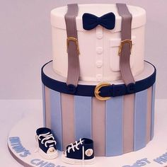blue,grey, little man cake Christening Themes, Baptism Themes, Christening Cake Boy, Baby Baptism, Baptism Ideas, Baby Shower Cakes For Boys, Baby Boy Cakes, Baby Shower Parties, Baby Boy Shower