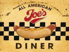 Joe's All-American Diner Metal Sign