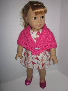 """18 inch party dress knitted shawl heart pin closure pink red 18"""" American Girl doll clothes bows hearts bling 2 piece dress cape by DreamyDoll on Etsy"""