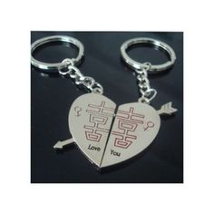 Wedding gift to commemorate an arrow through the heart double happiness couple key buckle jewelry lovers