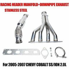 FOR 05-10 CHEVY COBALT SS//HHR SATURN ION CAT BACK EXHAUST FLEX DOWN PIPE+GASKET