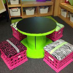 Repurposed Wire Spool Ideas - Spool tables furniture Different colours Classroom Furniture, Classroom Decor, Spool Crafts, Diy Crafts, Repurposed Furniture, Diy Furniture, Reclaimed Furniture, Garden Furniture, Antique Furniture