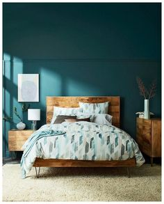 recommended small bedroom ideas to get a spacious look 19 - All About Decoration Bedroom Makeover, Wall Decor Bedroom, Beautiful Bedroom Colors, Bedroom Interior, Small Room Bedroom, Small Bedroom, Blue Master Bedroom, Bedroom Color Schemes, Interior Design Bedroom