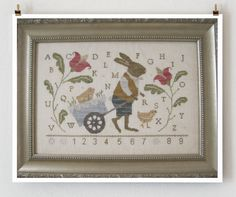 counted cross stitch pattern : Peter and Peep Country Stitches With Thy Needle and Thread Easter sampler embroidery