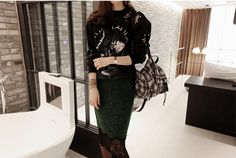 Women Emerald Green Woolen Wool Lace Fringe Lined Pencil Celeb Midi Skirt