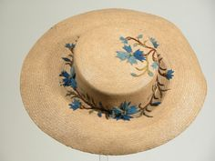 Embroidered straw hat, 1850-1860.