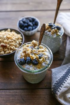 Chia Seed Pudding with blueberries, honey, and granola