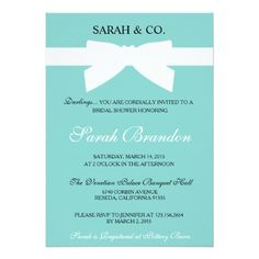 Tiffany Blue Bow Bridal Shower Invite Modern, stylish, classic, blue bow invitation. Perfect to set the stage for any Bridal Shower! Matching RSVP insert, belly band and wedding invites available in my Zazzle store as well! Standard white envelope included. Similar designs available for a quinceañera, Sweet 16, and Baby Shower. For more designs by Sarah Maiga, go to www.maigadesigns.com