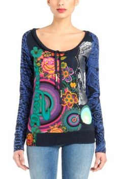 Colette Desigual women's T-shirt from the Galactic line. Galactic, circular shapes and floral patterns fill this shirt with color. �La vida es chula!