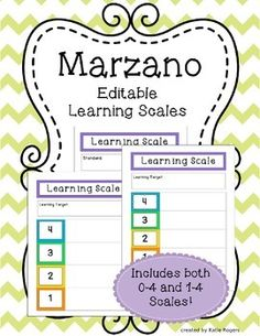 """This template allows you to create your own Marzano learning scale based on CCSS or your own learning target. There are 0-4 and 1-4 scales that come with two versions: """"Standard"""" or """"Learning Target"""". This kid-friendly scale will help students understand how to reach proficiency on each target."""