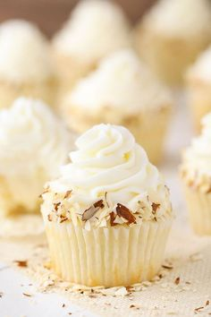 These Almond Amaretto Cupcakes have a moist almond cupcake almond frosting and a fluffy white chocolate amaretto center! These Almond Amaretto Cupcakes have a moist almond cupcake almond frosting and a fluffy white chocolate amaretto center! Almond Frosting, Almond Cupcakes, Amaretto Cupcakes Recipe, Fluffy Frosting, Baking Cupcakes, Chocolate Frosting, Cupcake Recipes, Cupcake Cakes, Dessert Recipes