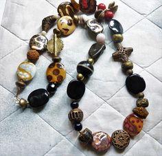 African Necklace with African Kazuri Ceramic Beads Baoulé