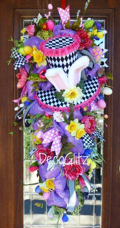 Custom Order Whimsical Easter Swag with Harlequin Bunny Hat DecoGlitz on Etsy GlitzyDeco on Facebook