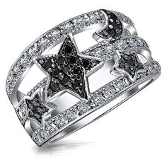 Bling Jewelry Bling Jewelry Stars And Moon Simulated Onyx Pave Cz... ($30) ❤ liked on Polyvore featuring jewelry, rings, black, cz band ring, band rings, cz rings, thick band rings and pave setting ring