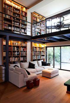 Home Interior Design — modern contemporary living room with mezzanine (. Home Library Design, Loft Design, Deco Design, Design Case, House Design, Modern Library, Library Ideas, Library Room, Garden Design