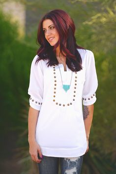 "Every Mile A Memory Blouse - White from Closet Candy Boutique Use my code ""repheather"" for 10% off plus free shipping."