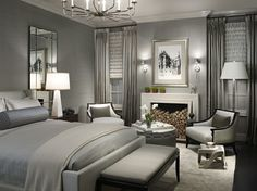 Monochrome - serene, timeless . classic . bedroom . home decor . interior design . luxury . bed . nightstand . bedding . gery .