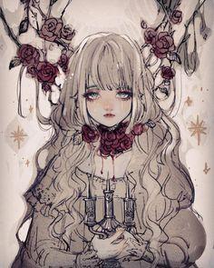 Trendy Flowers Girl Pictures Anime Art – Trend Art ideas on World Kawaii Anime Girl, Anime Art Girl, Manga Art, Dark Anime Girl, Gothic Anime Girl, Character Inspiration, Character Art, Darkness Anime, Pokemon