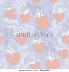 raspberry on blue background. Sketch, seamless pattern. Vector - stock vector