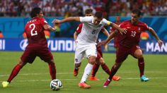 MANAUS, BRAZIL - JUNE 22: Clint Dempsey of the United States is challenged by Bruno Alves (L) and Ricardo Costa of Portugal during the 2014 FIFA World Cup Brazil Group G match between the United States and Portugal at Arena Amazonia on June 22, 2014 in Manaus, Brazil. (Photo by Warren Little/Getty Images)  2014 FIFA World Cup Brazil™: USA-Portugal - Photos - FIFA.com
