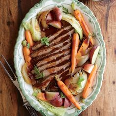 Slow Cooker Beef and Cabbage with Potatoes and Carrots Recipe. Made this - it was very good. Unusual spices but it worked. Used a flat cut brisket which was fall apart tender. I would add a little salt in the cabbage since it's not in the liquid - it really didn't pick up much flavor.