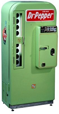 This was my intro to Dr Pepper .. A vending machine like this stood in my basic training barracks at Amarillo AFB .. never forgot that first taste!  Dr Pepper vending machine