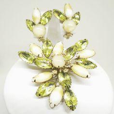 Milk Glass and Green Rhinestone Jewelry Set - Vintage, Juliana Style, Gold Tone, Rhinestones, Milk Glass Brooch and Clip-on Earrings Set by MyDellaWear on Etsy