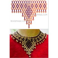 Collar Diy Necklace Patterns, Beaded Jewelry Patterns, Beading Patterns, Jewelry Crafts, Handmade Jewelry, Bead Jewellery, Beads And Wire, Beading Tutorials, Bead Art