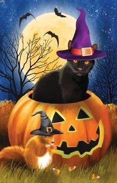 Retro Halloween, Spooky Halloween, Halloween Painting, Halloween Images, Holidays Halloween, Halloween Themes, Happy Halloween, Halloween Decorations, Cute Halloween Pictures