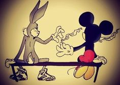 Bugs Bunny and Mickey, passing the joint. What the fuck. our kids watch these cartoons and now they get the message that weed is cool. Sad fucking message for kids. Cartoon Kunst, Cartoon Art, Cartoon Clouds, Disney Cartoons, Looney Toons, Graffiti, Marijuana Art, Medical Marijuana, Cannabis Oil