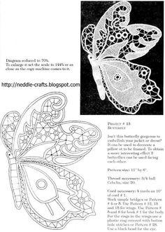 شغل ابره NEEDLE CRAFTS: فراشات من اللاسيه - butterflies in lacee