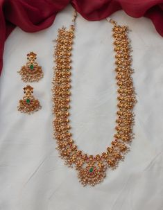 One Gram Gold Guttapusalu Haram ~ South India Jewels Indian Bridal Jewelry Sets, Bridal Jewellery, Indian Jewelry, Ruby Necklace Designs, Gold Jewellery Design, Gold Jewelry, Pearl Jewelry, Guttapusalu Haram, South India