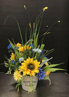 Summer Flower Arrangements, Sunflower Arrangements, Artificial Floral Arrangements, Silk Floral Arrangements, Beautiful Flower Arrangements, Summer Flowers, Artificial Flowers, Beautiful Flowers, Tropical Flowers