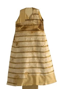 Funeral garment (surcotte) of Infanta Maria (d. 1235). Exhumed from the Monastery of Las Huelgas, Burgos. Madrid. Of white silk, robably previously lined with fur. Museo del Traje, Madrid, Spain. [or Burgos now?]