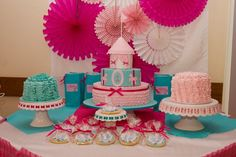 Pretty in Pink Carnival Birthday party; love the pink and blue color palette