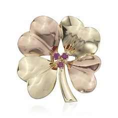 C. 1940 Vintage Tiffany Jewelry Ruby Clover Pin in 14kt Two-Tone Gold
